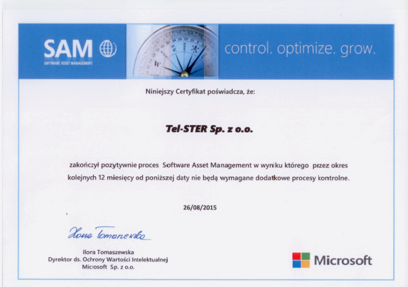 TEL-STER Sp. z o.o. Certyficate Microsoft SAM (Software Asset Management)